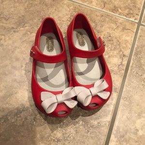 Mini Melissa red with bows Velcro sandal 9